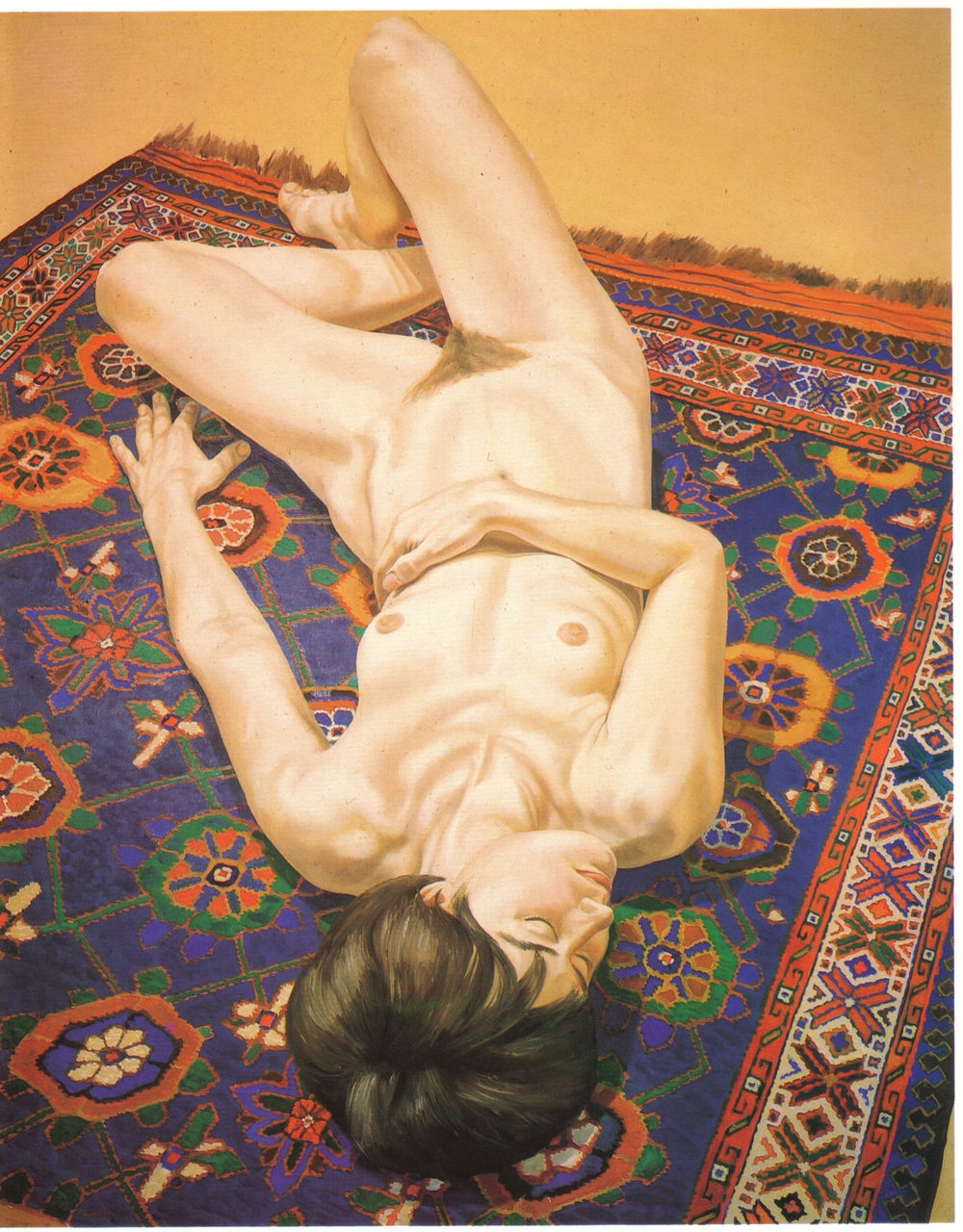 Nude on Oriental Rug , 1970 Oil on canvas 60 x 48 in
