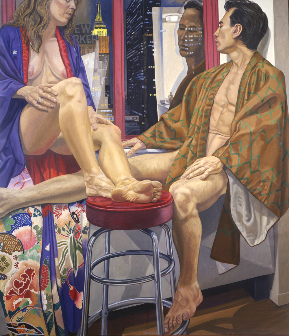 Two Models with Empire State Building, Night , 1989 Oil on canvas 70 x 60 in