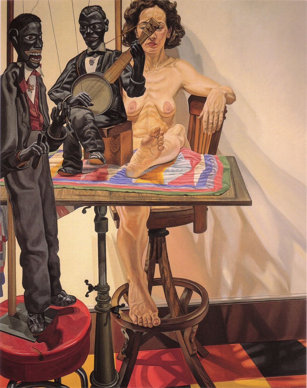 Two Minstrel Marionettes and Model , 1987 Oil on canvas 76 x 60 in