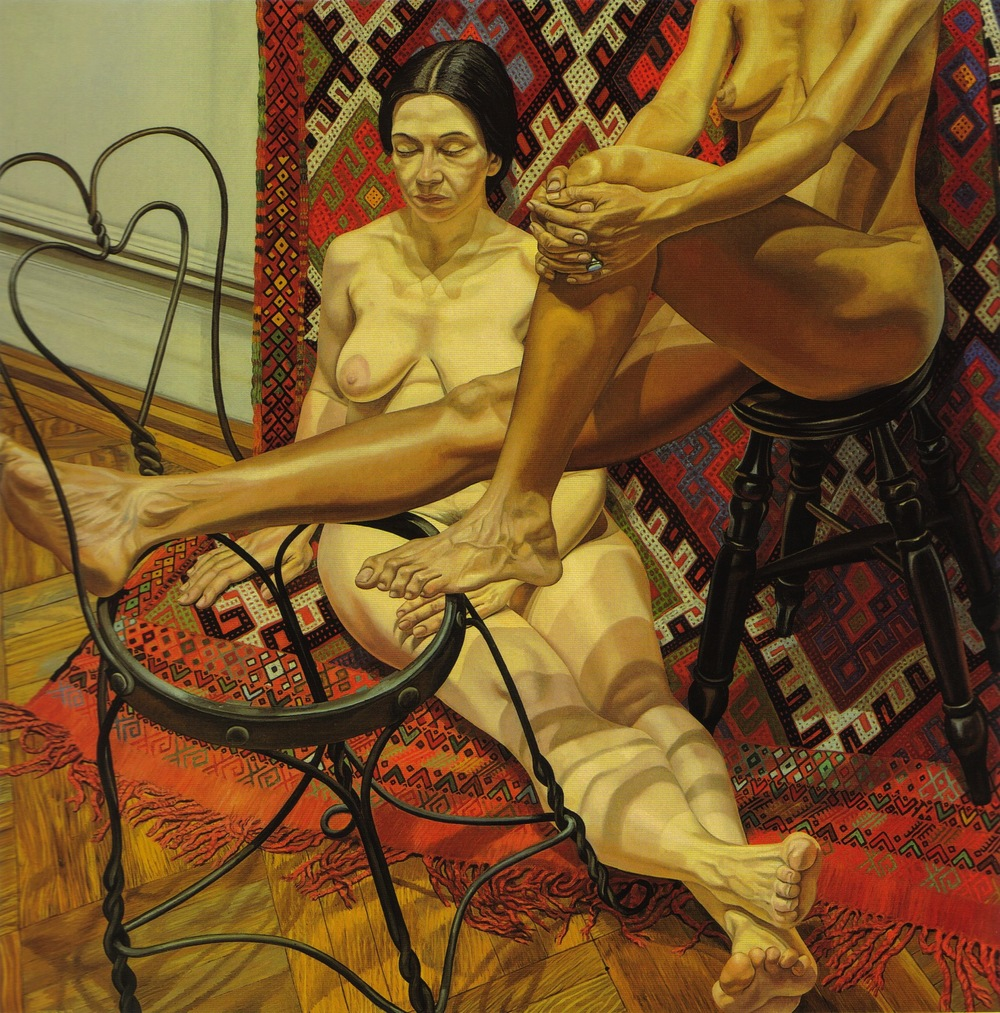 Two Models with Bent Wire Chair and Kilm Rug , 1984 Oil on canvas 72 x 72 in