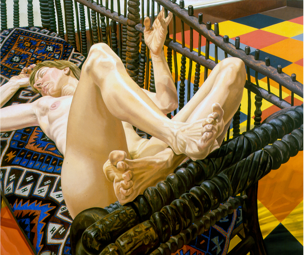 Model on Eccentric American Bench,  1984 Oil on canvas