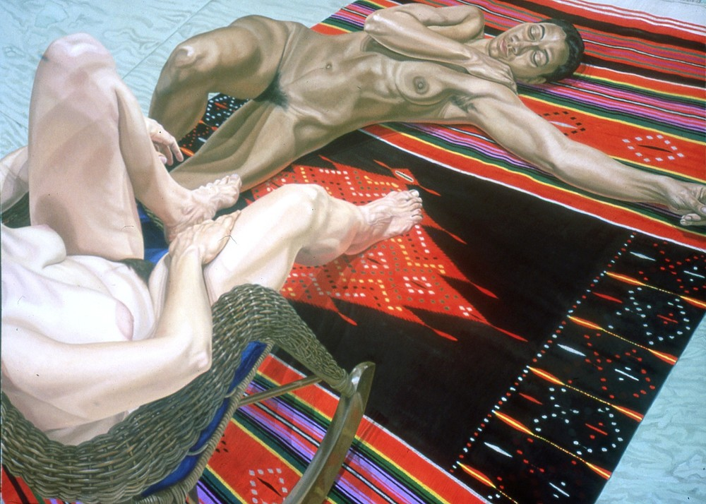 Two Models with Wicker Rocker and Mexican Blanket , 1983 Oil on Canvas 72 x 96 in