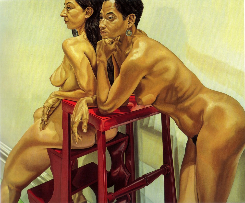 Two Models with Ladder , 1983 Oil on canvas 60 x 72 in