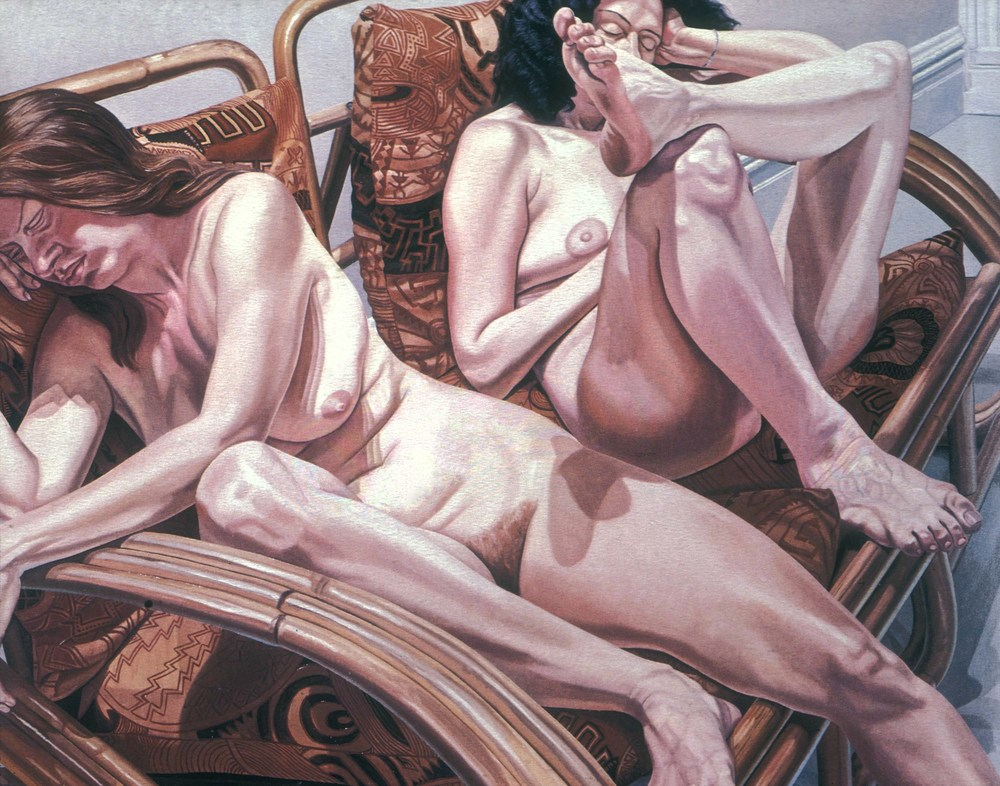 Two Models in Bamboo Chairs,  1981 Oil on canvas 60 x 72 in