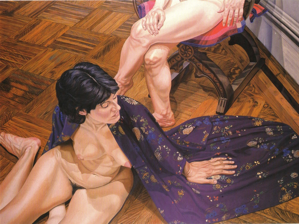 Two Models, One on Floor in Kimono , 1980 Oil on canvas 72 x 96 in