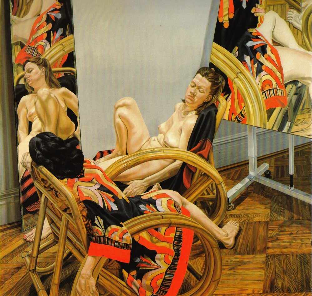 Two Models with Mirror and Painting , 1982 Oil on canvas 90 x 90 in