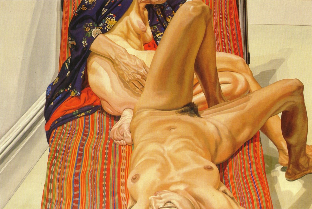 Two Female Models on Peruvian Drape , 1980 Oil on canvas 48 x 72 in