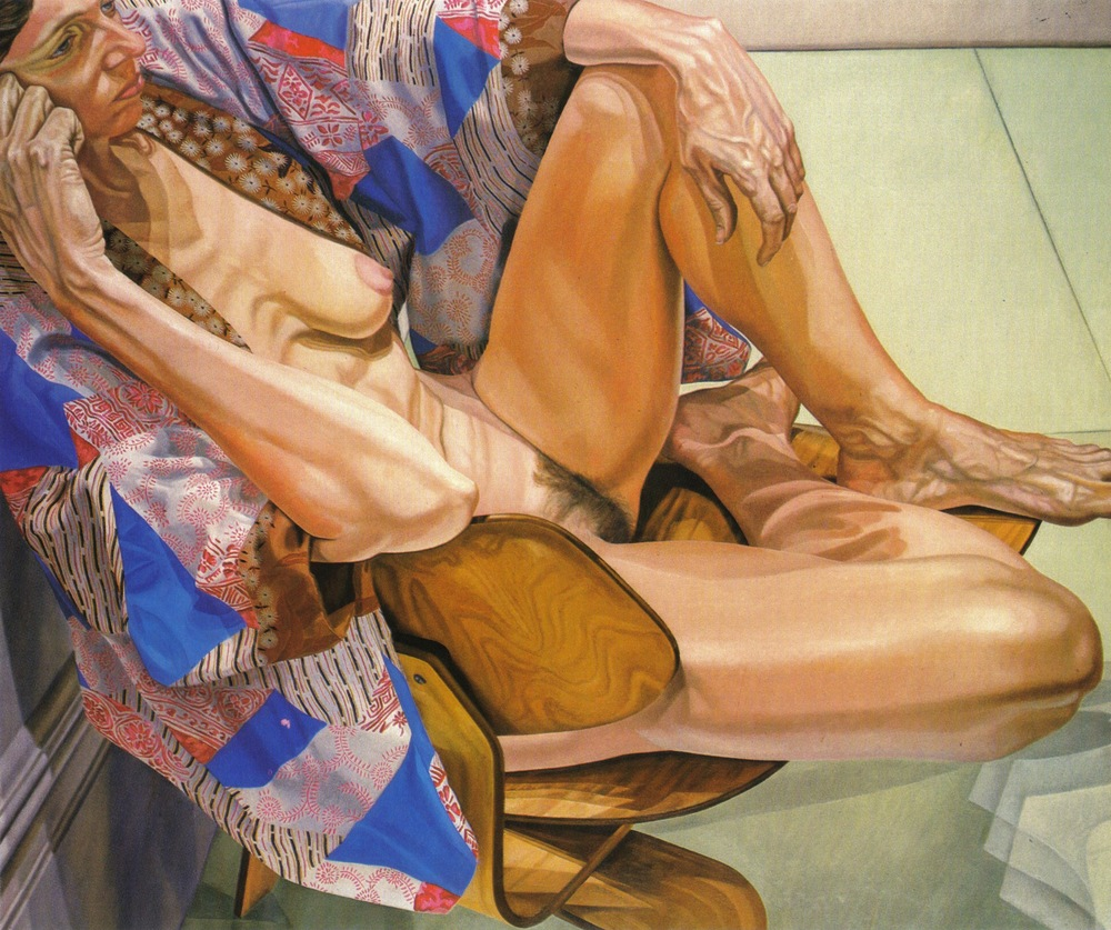 Model in Kimono on Eames Chair,  1980 Oil on canvas 60 x 72 in