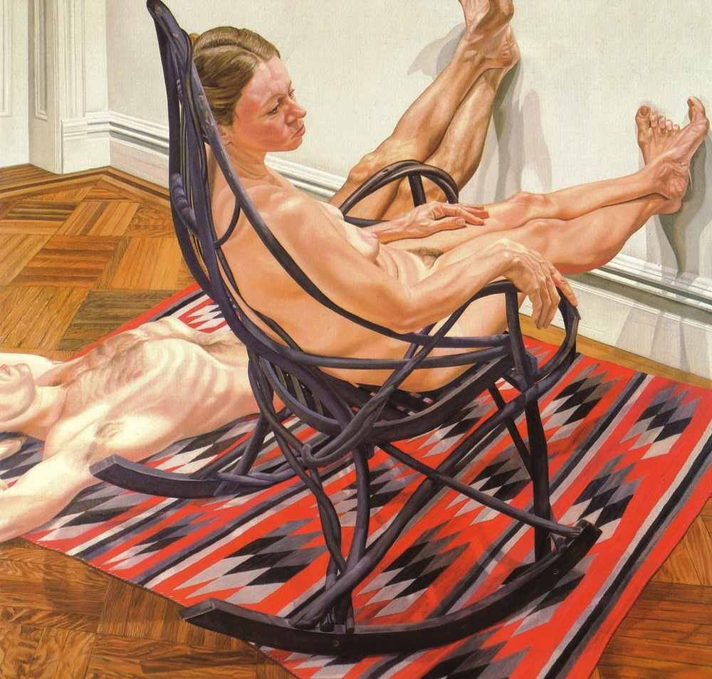 Female Model in Adirondack Rocker, Male Model on Floor , 1980 Oil on canvas, 72 x 72 in