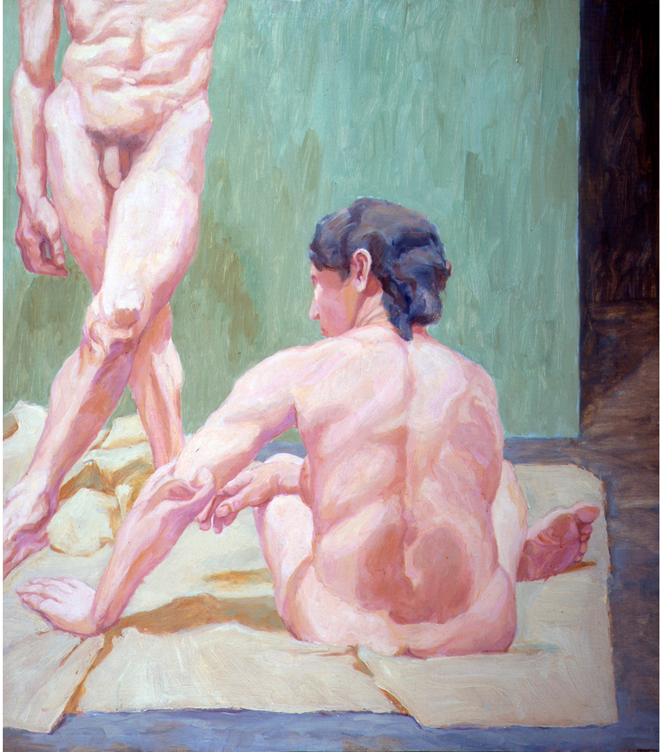 Two Figures, One Standing , 1962 Oil on canvas 51 x 45 in