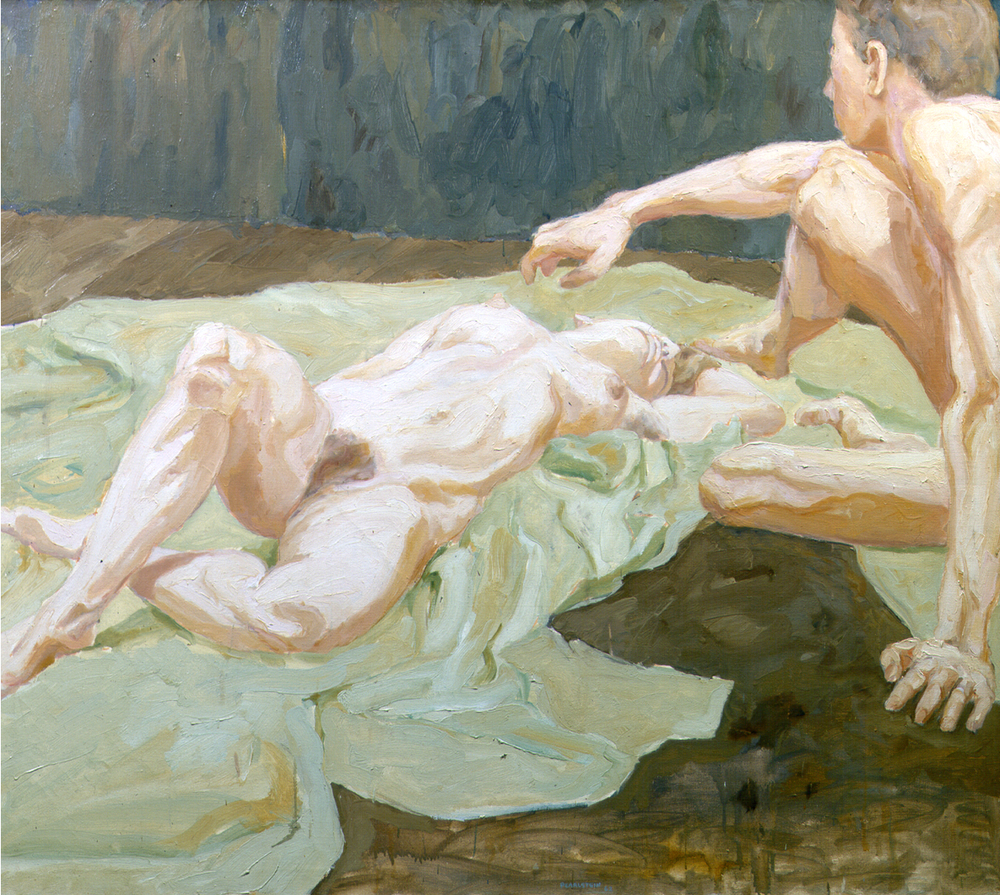 Two Models on Studio Floor,  1962 Oil on canvas 44 x 50 in