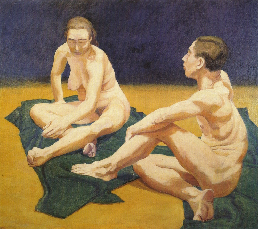 Male and Female Models Sitting on the Floor , 1962 Oil on canvas 44 x 50 in