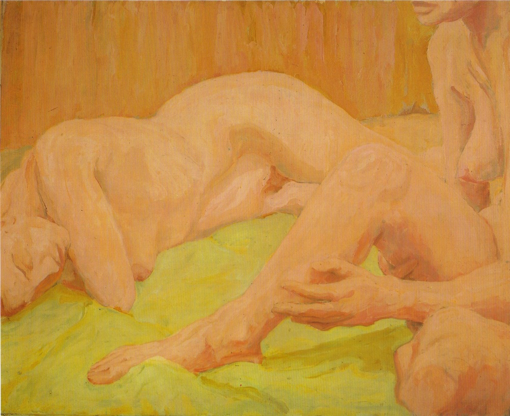 Two Female Models, One Reclining, One Seated , 1961 Oil on canvas 36 x 44 in
