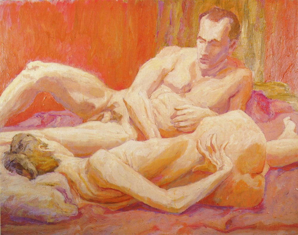 Reclining Male and Female Models , 1961 Oil on Canvas 44 x 56 in