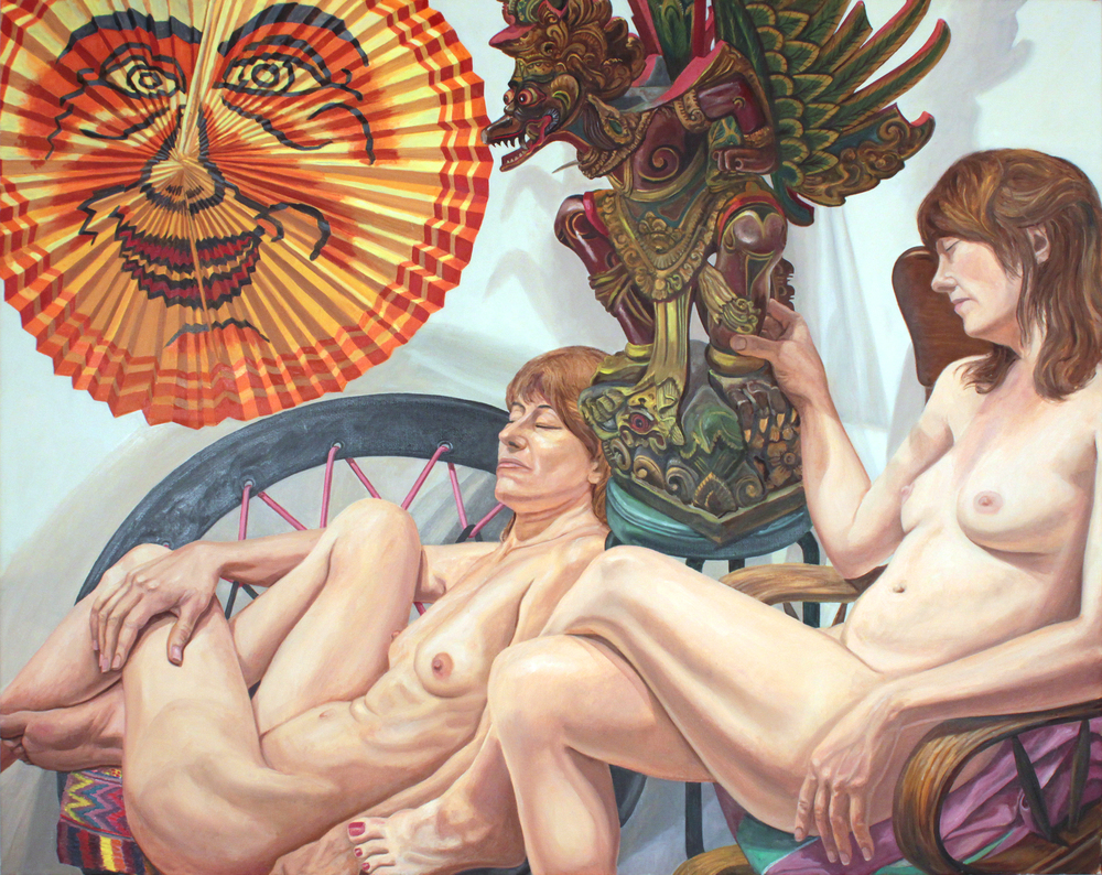 Models With Lantern and Garuda , 2014 Oil on Canvas 48 x 60 in