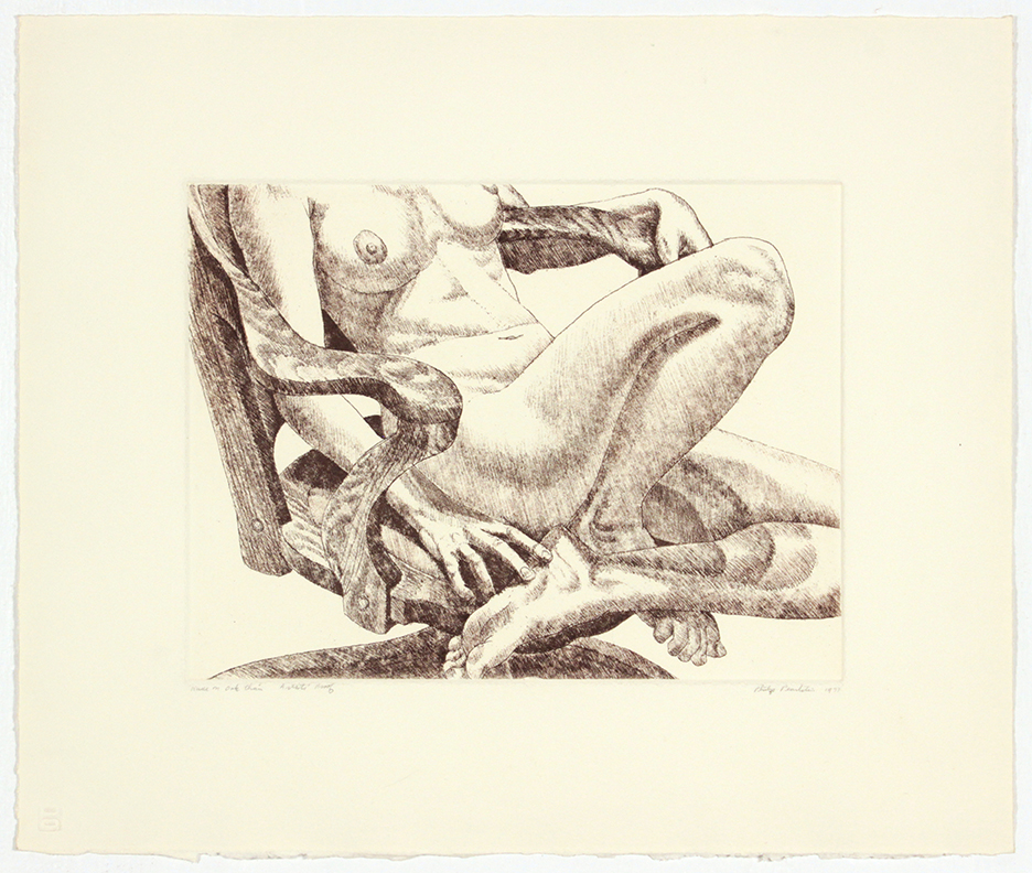 Nude on Oak Chair , 1978 Etching, Aquatint 15 x 18 in