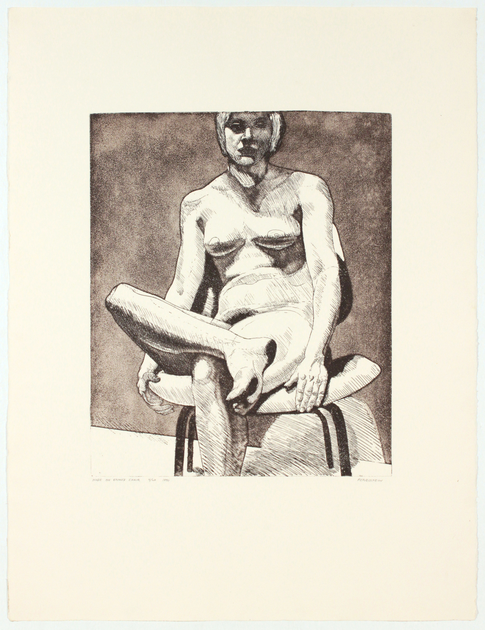 Nude on Eames Chair,  1970 Etching, Aquatint 29.25 x 22.25