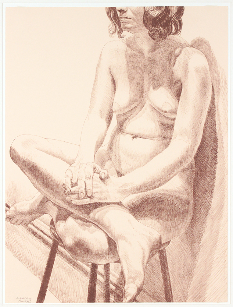 Girl on Stool , 1971 Lithograph 24 x 18 in