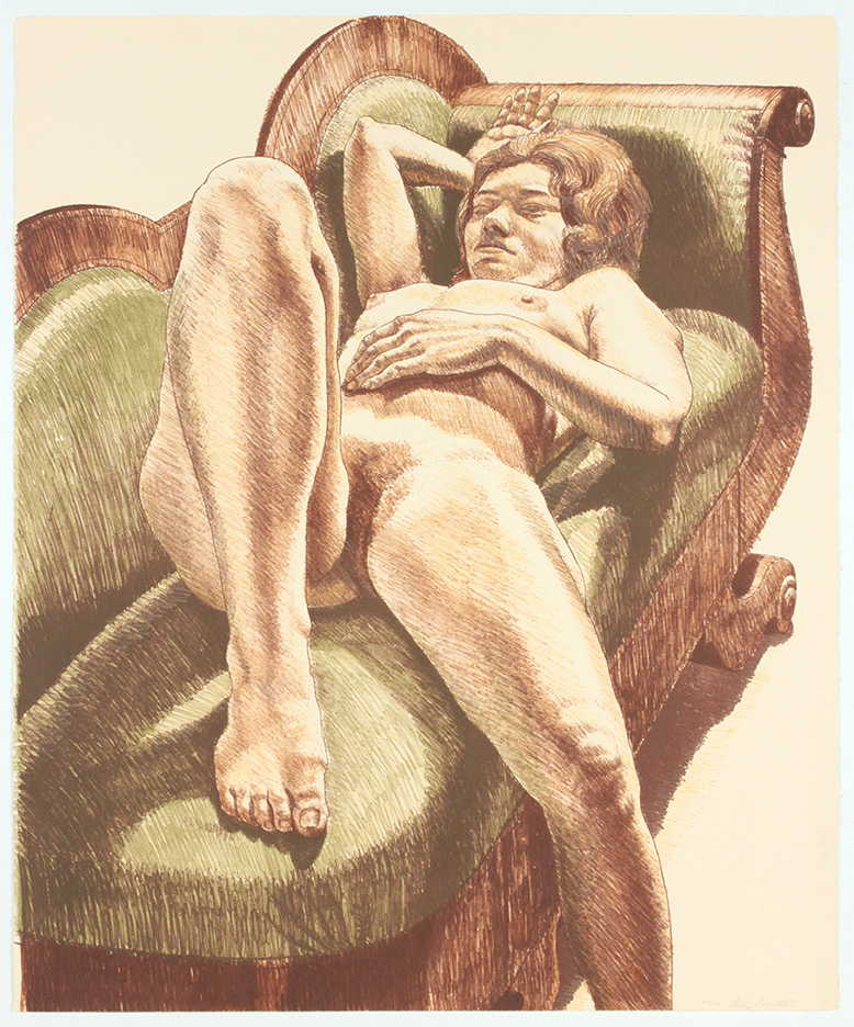 Reclining Nude on Green Couch , 1971 Lithograph 27 x 22.375 in
