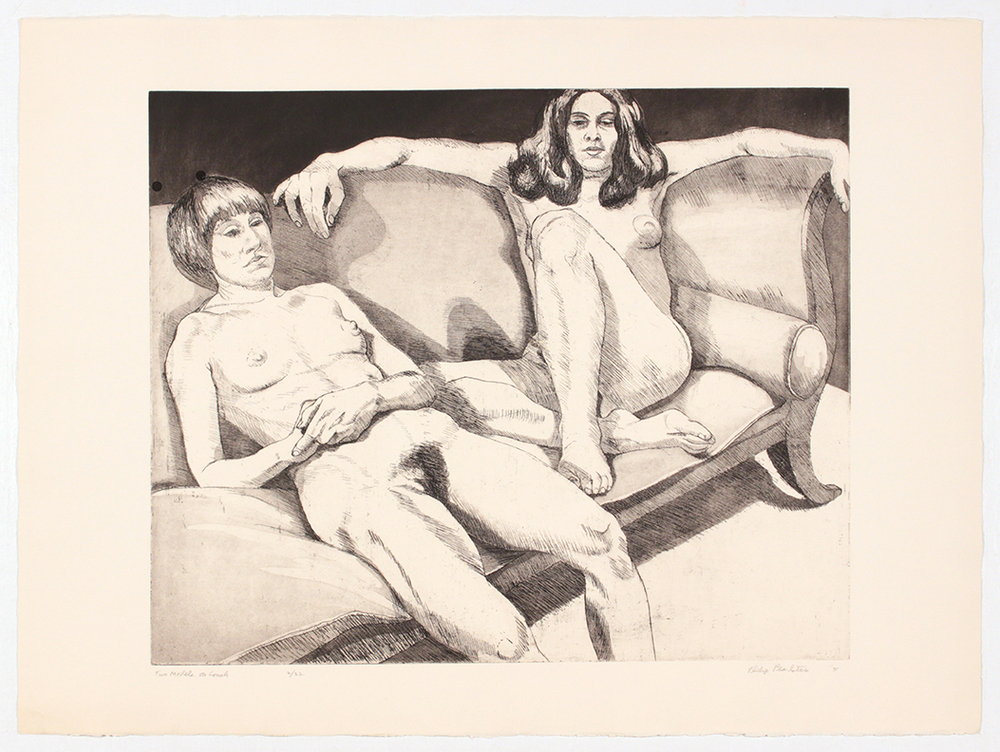 Two Models on Couch , 1971 Etching, Aquatint 22.25 x 30 in