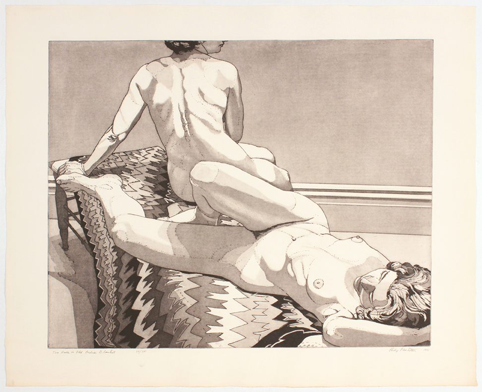 Two Nudes on Old Indian Rug , 1971 Etching Aquatint 29.50 x 36.25 in