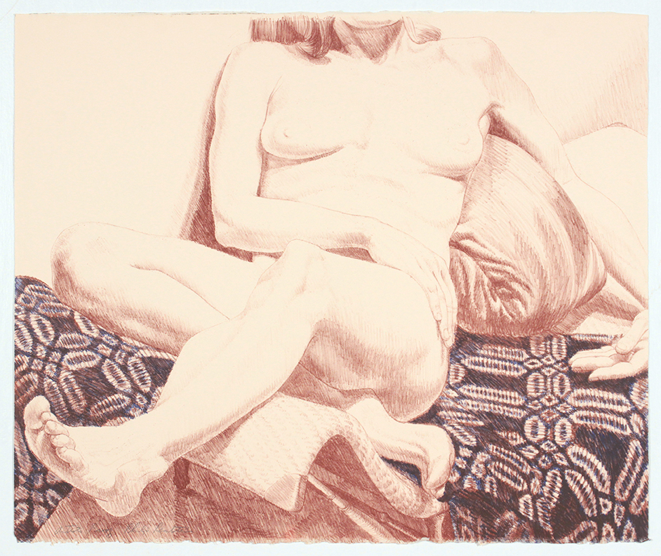 Girl on Blue Coverlet , 1972 Lithograph 22.50 x 27 in