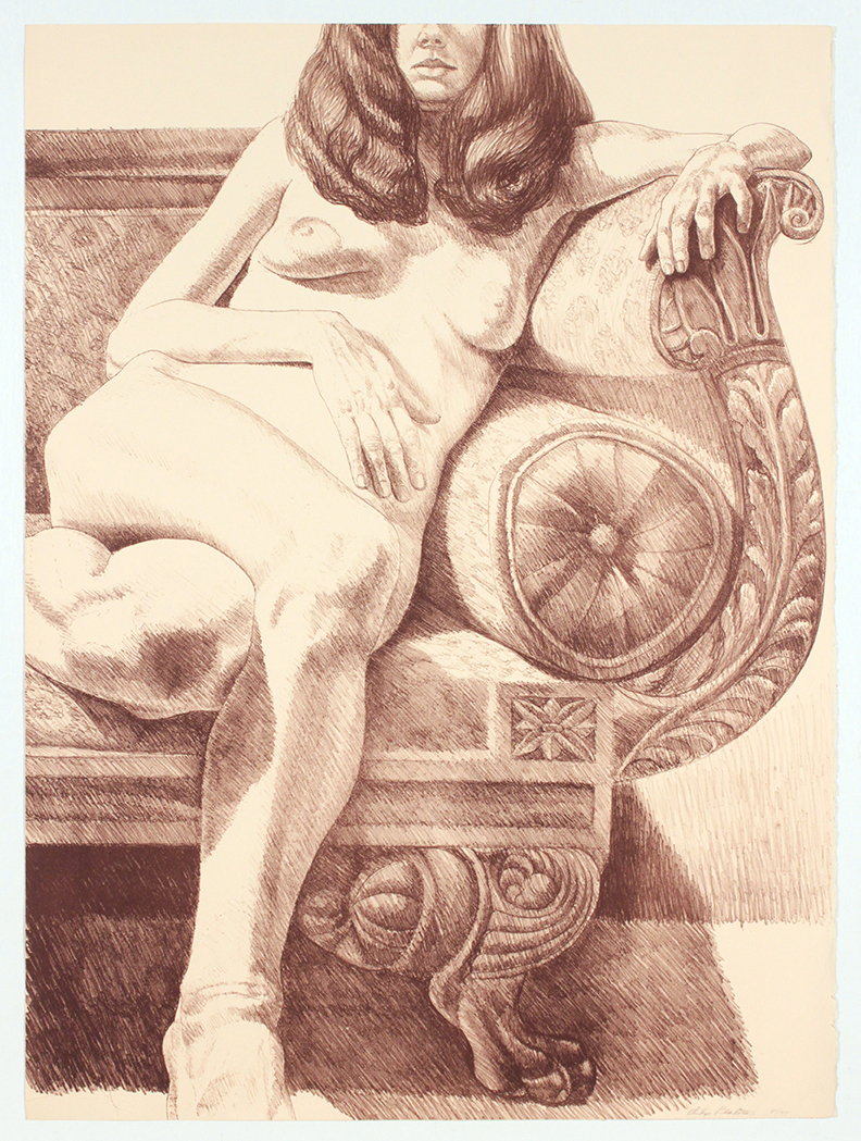 Girl on Empire Sofa , 1972 Lithograph 32.25 x 24 in