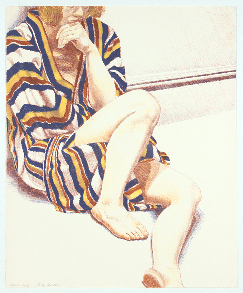 Girl on Striped Robe , 1972 Lithograph 27 x 22 in
