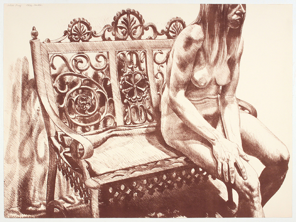 Girl on Iron Bench , 1972 Lithograph 24 x 32.25 in