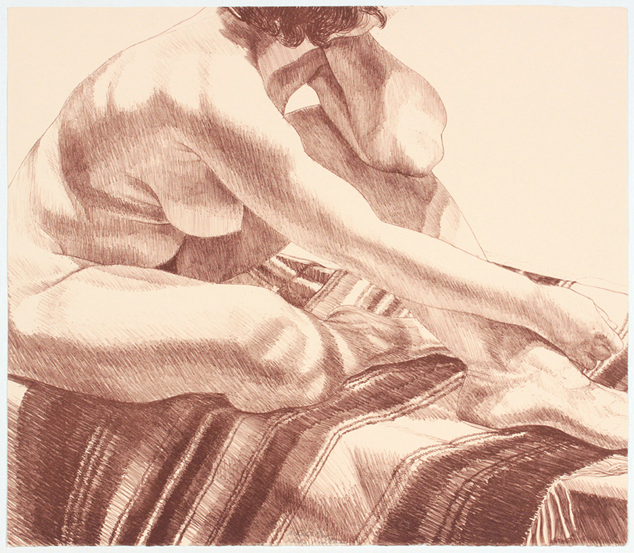 Girl on Striped Rug , 1972 Lithograph 21 x 24 in