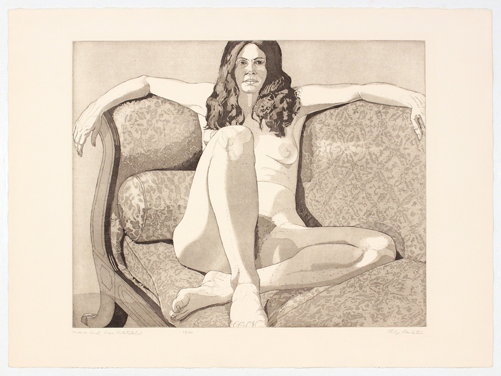 Nude on Couch, Arms Outstretched , 1972 Etching, Aquatint 22.25 x 30 in
