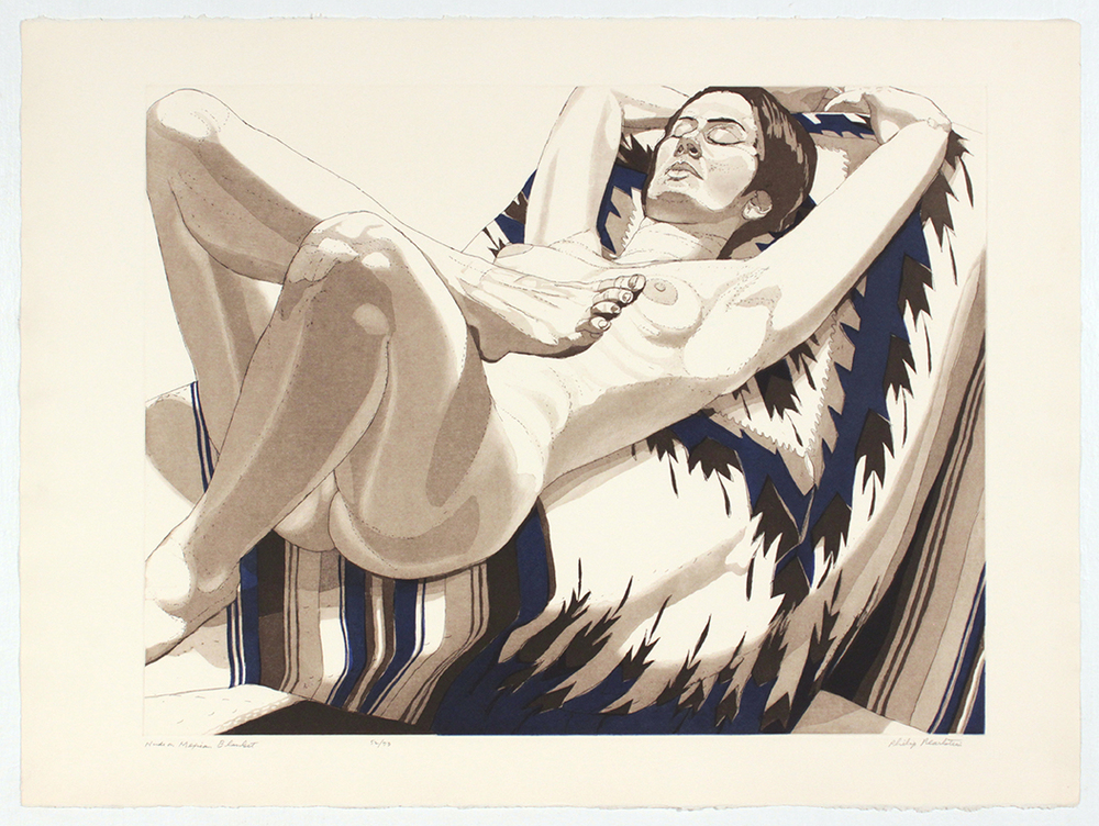 Nude on Mexican Blanke t, 1972 Etching, Aquatint 22.25 x 30 in