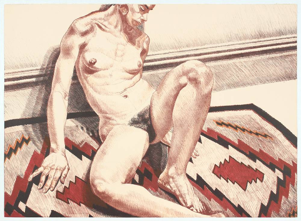 Nude on Navaho Rug , 1972 Lithograph 24.50 x 34 in