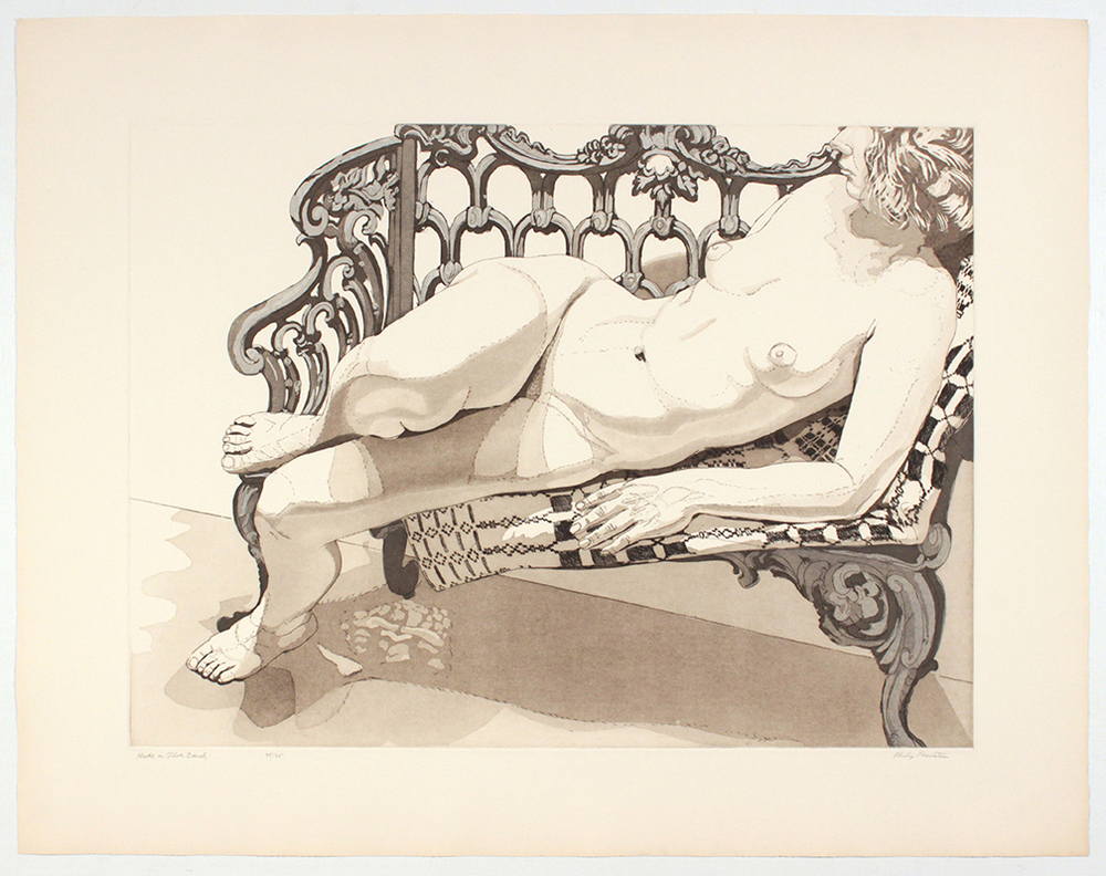 Nude on Silver Bench , 1972 Color aquatint, line etching 55.5 x 74.7 cm