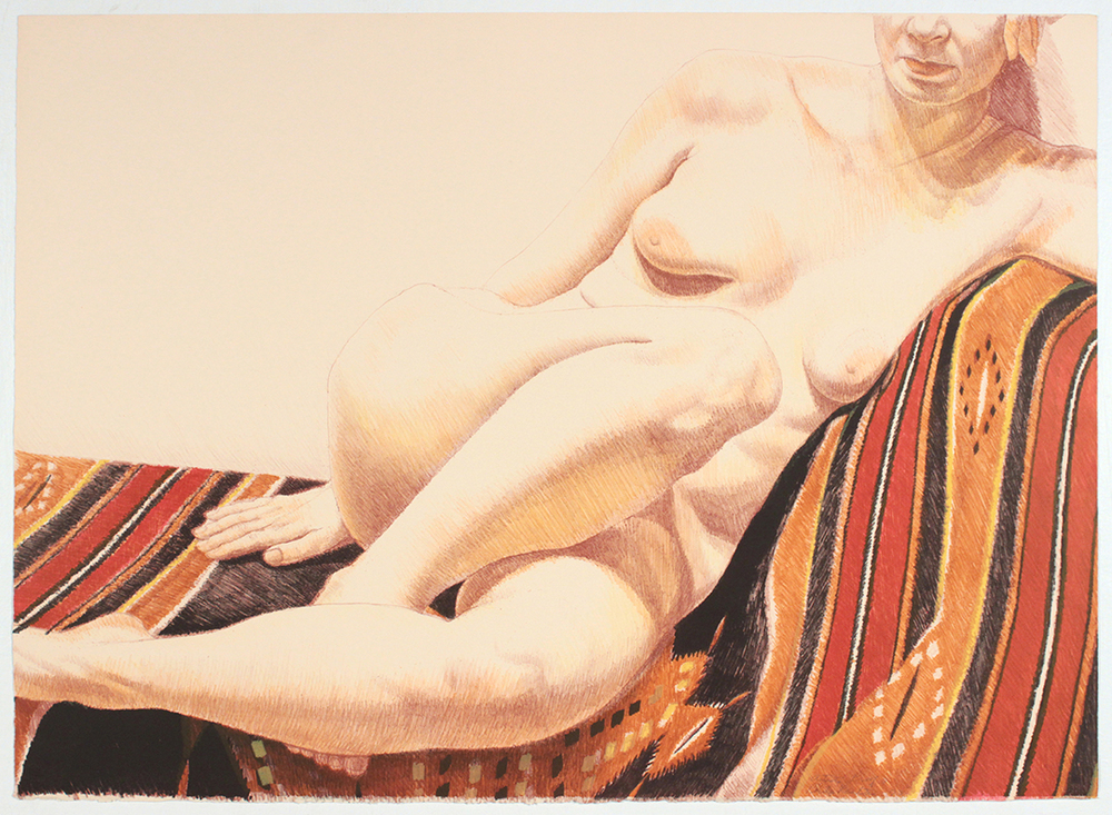 Girl on Orange and Black Mexican Rug , 1973 Lithograph 24.75 x 34 in