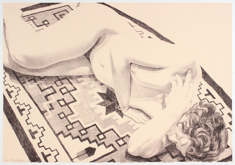 Model on GreyPatterned Rug (B&W) , 1973 Lithograph 22.50 x 32.50