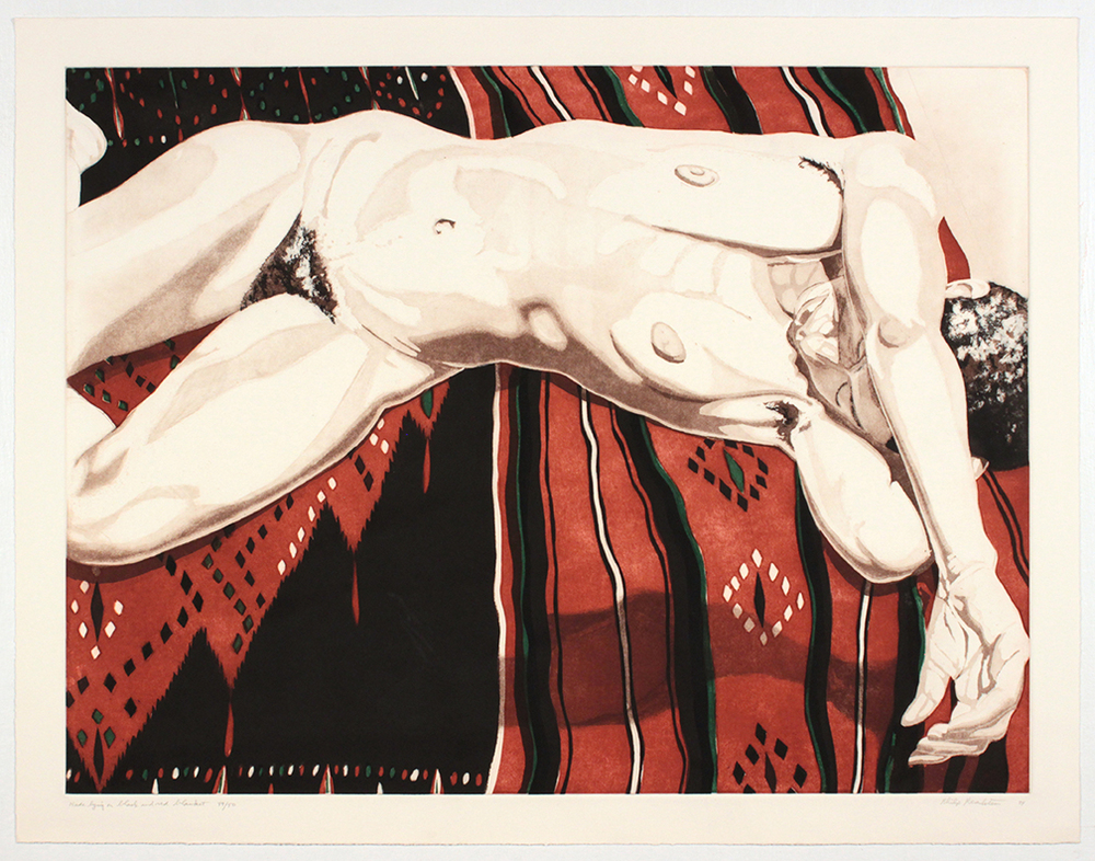 Nude Lying on Black and Red Blanket , 1974 Etching, Aquatint 22.75 x 29.25 in
