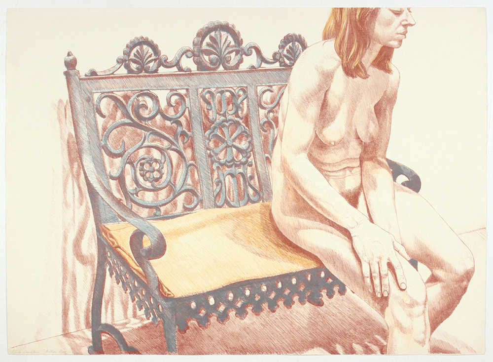 Girl on Iron Bench , 1974 Lithograph 24.75 x 34.50 in