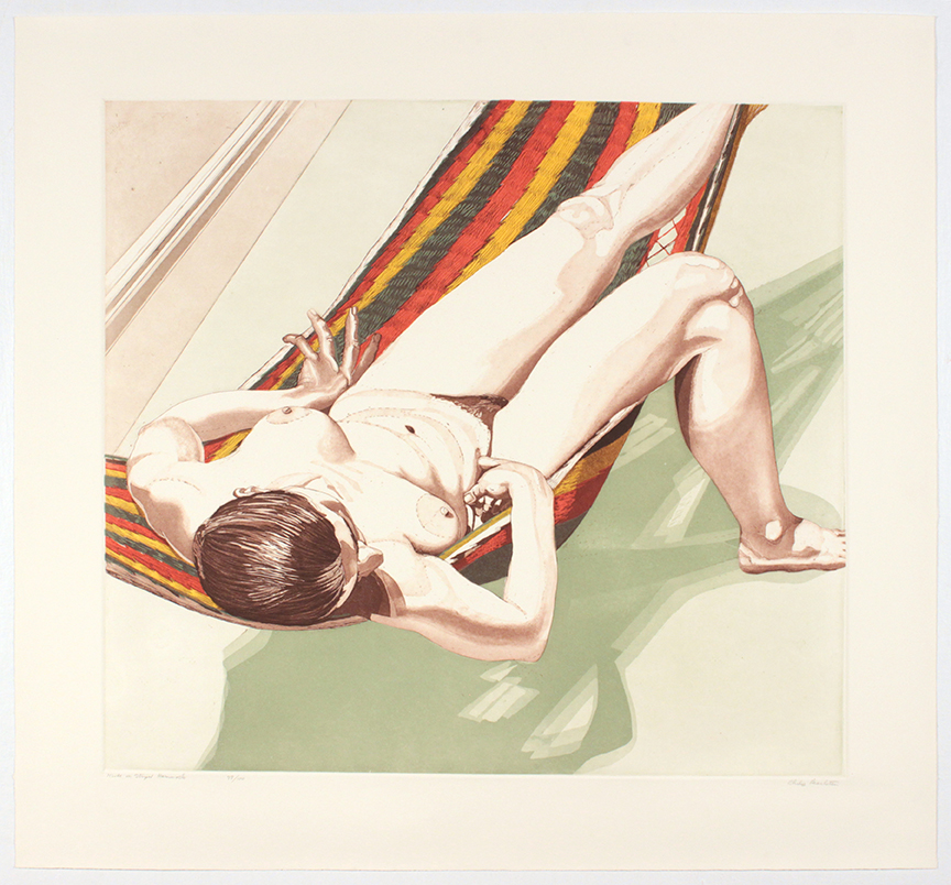 Nude on Striped Hammock , 1974 Etching, Aquatint 30 x 32.25 in