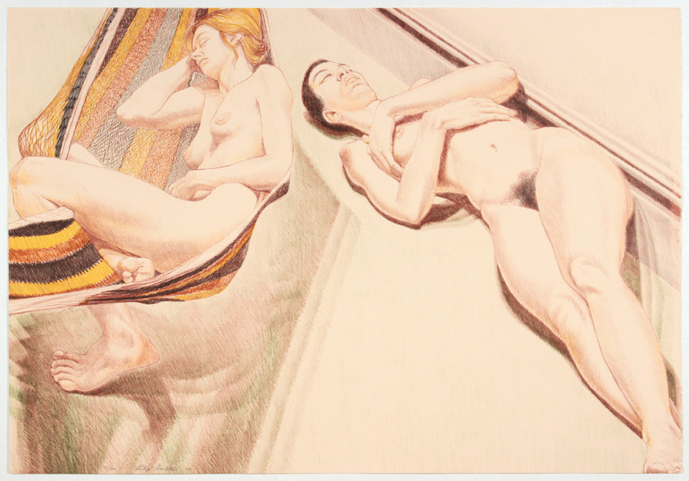Two Nudes with Hammock , 1974 Lithograph 24.875 x 35.75 in