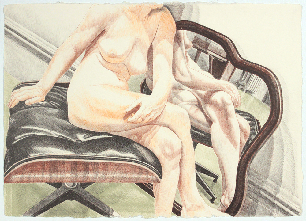 Nude on Eames Stool with Mirror , 1977 Color Lithograph 20.125 x 28.25 in