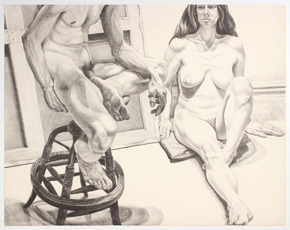 Two Nudes on Oak Stool and Canvas , 1976 Lithograph 29.125 x 37 in