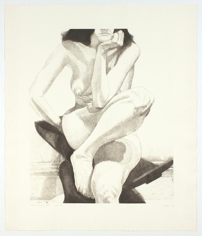 Nude on Dahomey Stool , 1976 Etching, Aquatint 30.75 x 26.25 in