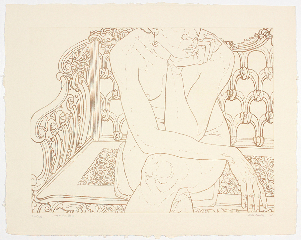 Nude on Iron Bench , 1975 Etching, Aquatint 22 x 28 in