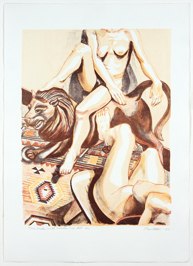 Two Nudes with Wooden Lion , 2003 23.1875 x 16.5 in