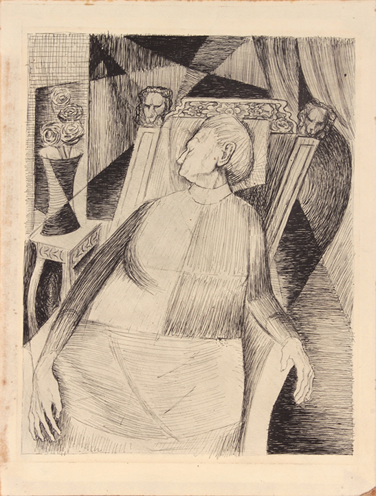 1948, NT (Book Illustration_Seated Sleeping Woman), Pen and Ink on Paper, 11.875x9, PPS 1481.JPG