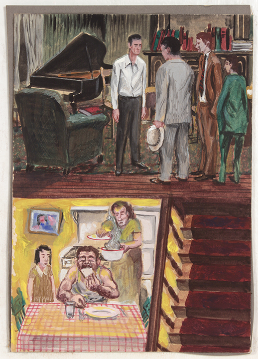 No Title (Illustration - Piano Player and Neighbor Supper), 1940s Casein on Paperboard 11.75 x 8.50 in