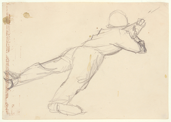 NT (Soldier Lying on His Stomach Holding Bayonette), 1940s c Graphite on Paper 4.75 x 6.75 in