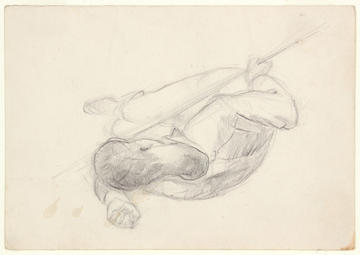 NT (Soldier Lying Sideways, Head on One Arm, Holding Bayonette), 1940's c Graphite on Paper 4.75 x 6.75 in