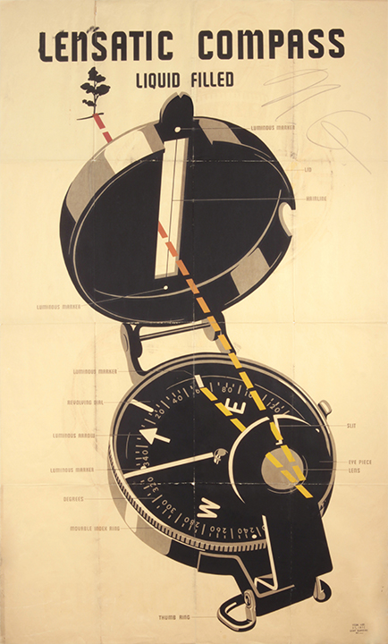 Lensatic Compass Chart, 1943 Silkscreen on Papar 60 x 35 7/8